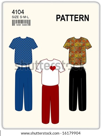 Sewing pattern t shirt pants women stock illustration 16179904 sewing pattern t shirt and pants for women copy space to add your name solutioingenieria Images
