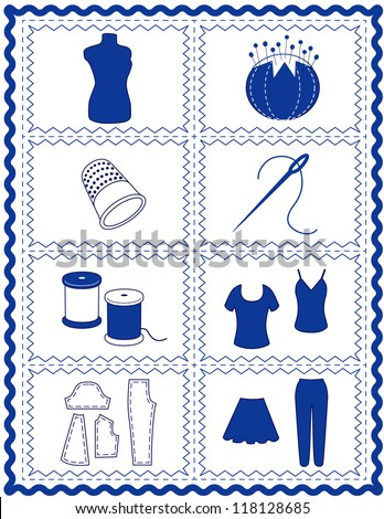 Sewing, Tailoring Tools for dressmaking, textile arts, do it yourself crafts, hobbies, fashion model, pincushion, straight pins, thimble, needle, thread, clothes patterns, blue rick rack frame border. - stock photo