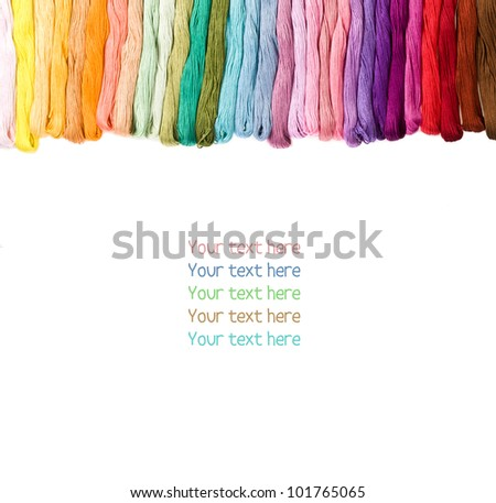 sewing threads for embroidery isolated on white - stock photo
