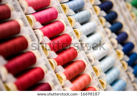 Sewing threads multi colored - stock photo