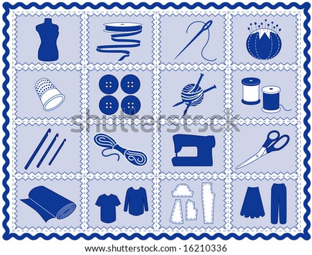 Sewing Tools: fashion model, needle, thread, scissors, yarn, ribbon, pincushion, for sewing, tailoring, dressmaking, needlework, quilting, crochet, craft, do it yourself hobbies, blue rick rack frame. - stock photo