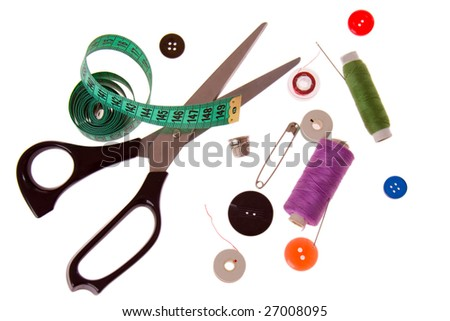 sewing tools on white background - stock photo
