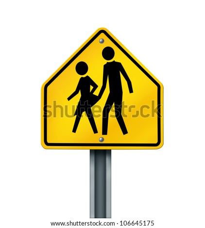 Sex abuse in school with a warning sign of a sexual predator abusing and attacking young innocent student victims as a yellow hazard sign with the criminal act isolated on a white background. - stock photo
