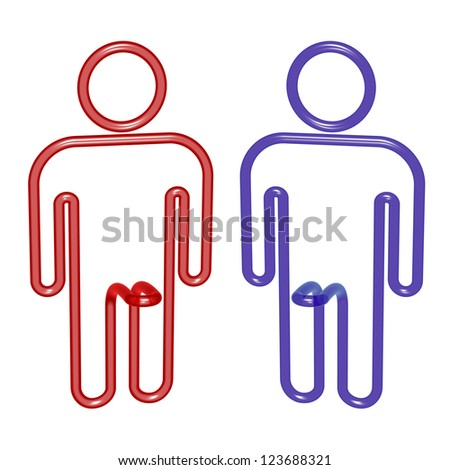 Sex imagination concept, Signs male or homosexual not sure. - stock photo