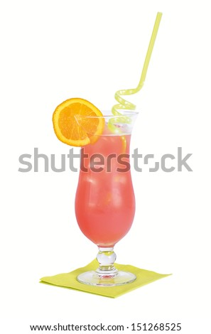 Sex On The Beach Cocktail - Cocktail made from vodka, peach liqueur, orange juice, and cranberry juice in a fancy glass with ice. - stock photo