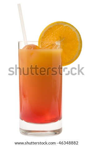Sex on the Beach mixed drink with orange garnish on white background - stock photo