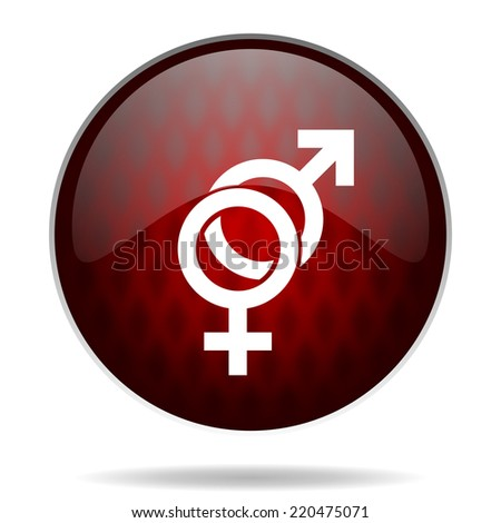 sex red glossy web icon on white background  - stock photo