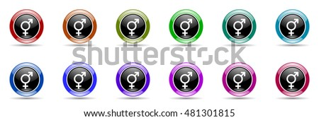 sex round glossy colorful web icon set