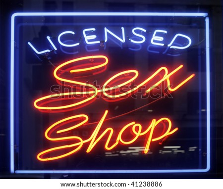 sex shop sign in amsterdam - stock photo