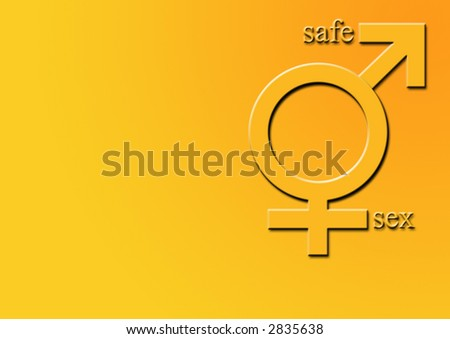 sex symbol (6 of 7) male, female and safe sex text