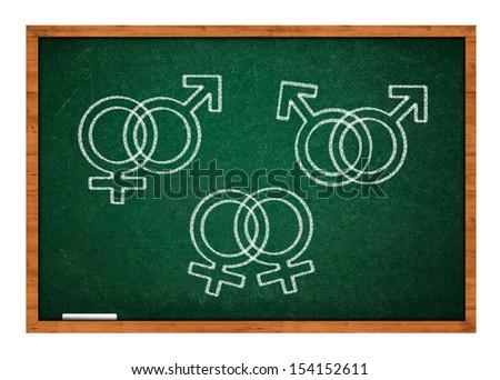 Sex symbols on green chalkboard, sex education.