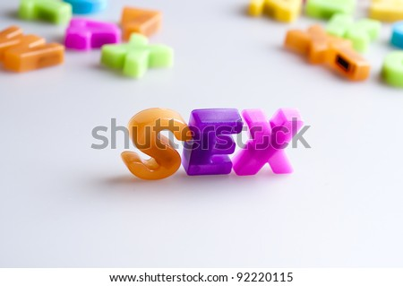 Sex word made by color letters