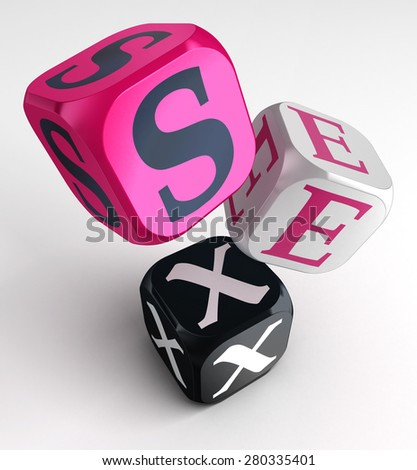 sex word on pink black box cubes. clipping path included - stock photo