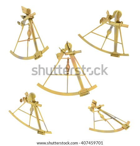 Sextant in various positions isolated on white background Computer generated 3D illustration - stock photo