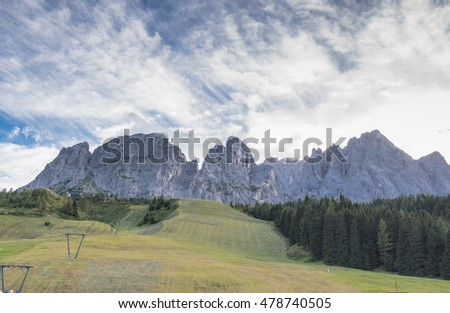 Sexten/Sesto Dolomites mountain summits at early evening as seen from Kreuzberg/Monte Croce di Comelico pass, Pusteria valley, Dolomiti di Sesto Nature park, Trentino-Alto Adige, South Tyrol, Italy