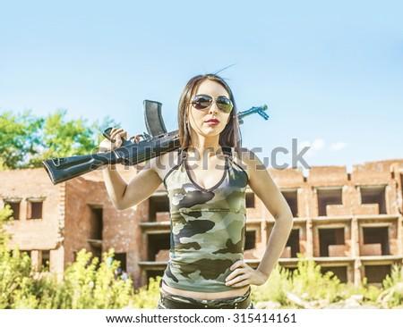 Asian girl uniform building