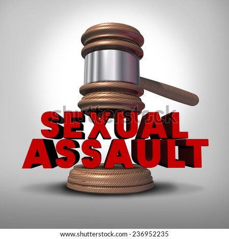 Sexual assault concept and rape crime symbol as a legal court judge mallet hitting a three dimensional text as an icon of sex violence harassment and criminal physical contact. - stock photo
