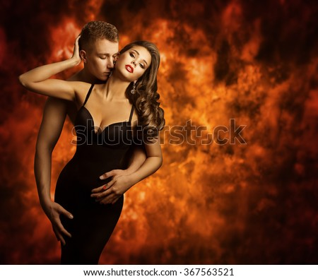 Sexual Couple, Passion Man Kiss Sensual Woman to Neck, Love Flame