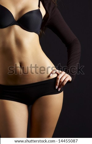 sexual feminine body in black underclothes