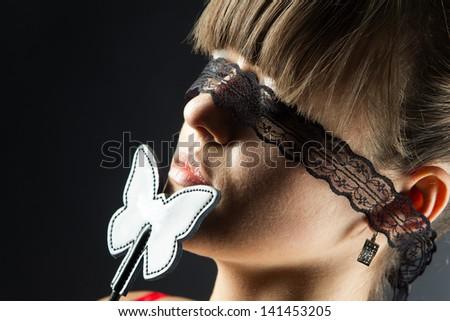 Sexual games, close up portrait - stock photo