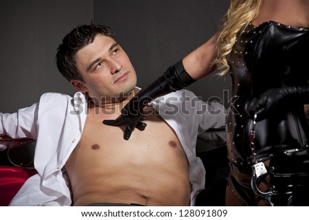 Sexual games in a bedroom - stock photo