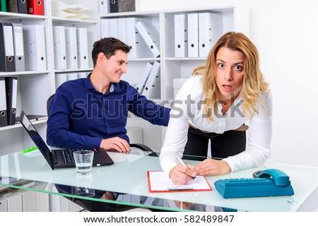sexual harassment office business man touch stock photo 582489847 shutterstock. Black Bedroom Furniture Sets. Home Design Ideas