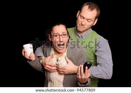 sexual harassment. young woman being indescretely touched by her boss - stock photo
