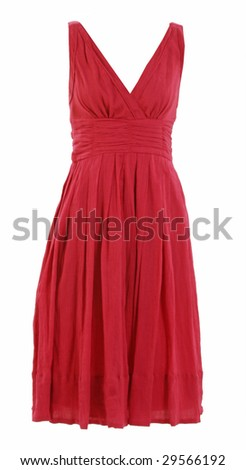 sexual red dress neckline - stock photo