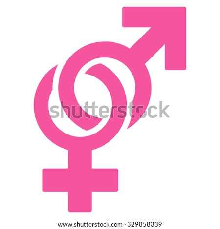 Sexual Symbols illustration icon. Style is flat symbol, pink color, rounded angles, white background.