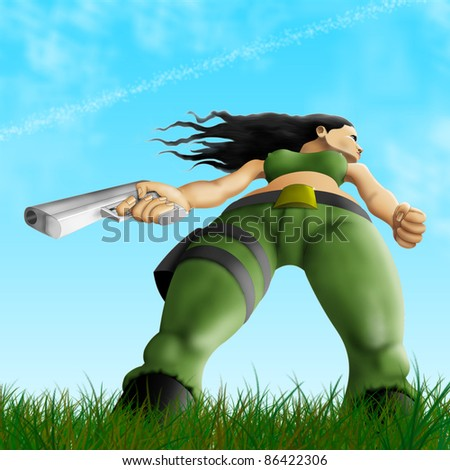 Sexual warrior in the field - stock photo