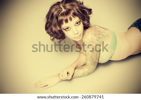 Sexual young woman  alluring in beautiful lacy underwear. - stock photo