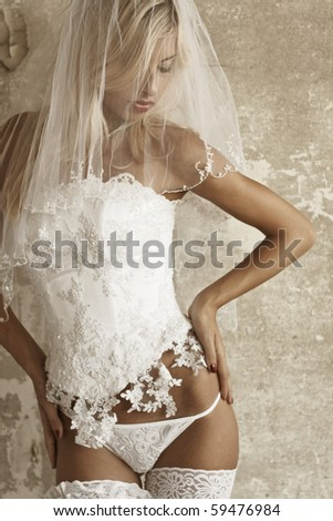 Sexuality girl in bride sexy underclothing - stock photo