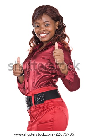 sexy african american  businesswoman with red skirt and blouse