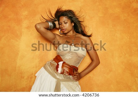 Sexy African American woman in stylish dress - stock photo