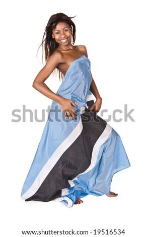sexy  african girl with botswana flag - stock photo