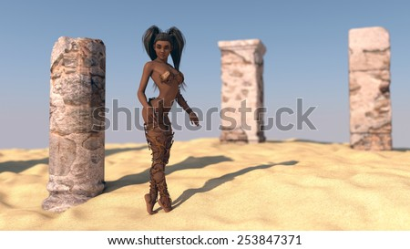 sexy african young woman posing in desert near ruins - stock photo
