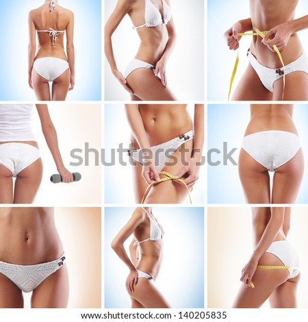 Sexy and beautiful body parts collage - stock photo