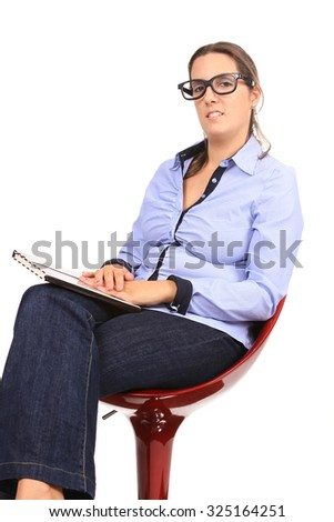 sexy and beautiful businesswoman with glasses, business photo - stock photo