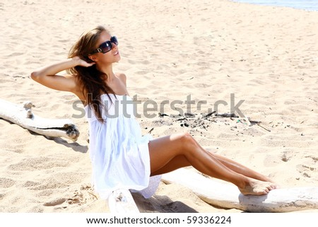 sexy and beautiful woman on the beach - stock photo