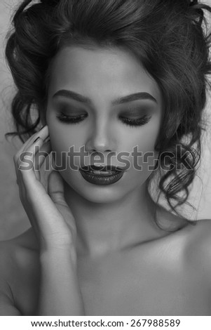 Sexy and fashion Woman with red lips and fashion hairsyle - stock photo