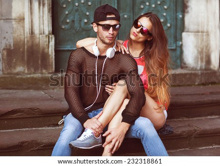 Sexy and fashionable couple in sunglasses. Vogue  - stock photo