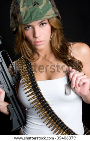 Sexy Army Woman - stock photo