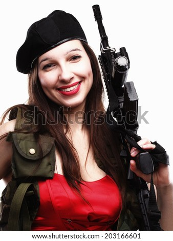 Sexy army woman - Girl holding an Assault Rifle, isolated on white background - stock photo