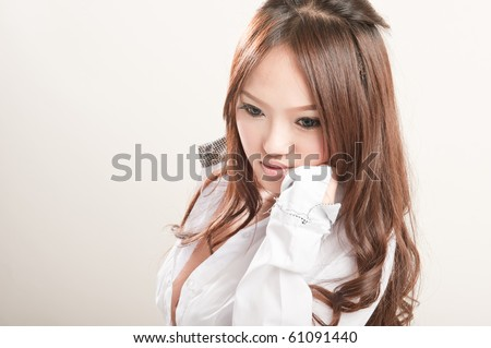 sexy asian Business woman in white shirt - stock photo