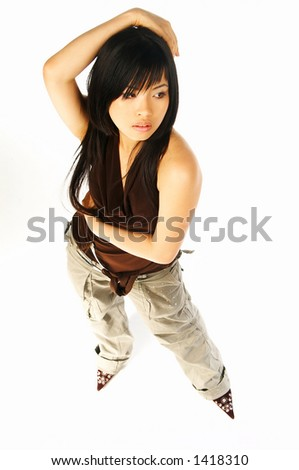 Sexy asian girl model expressions on white back ground