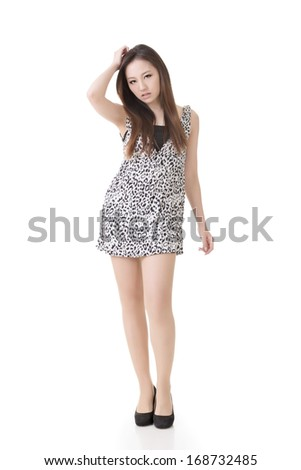 Sexy Asian woman, full length portrait isolated on white background. - stock photo