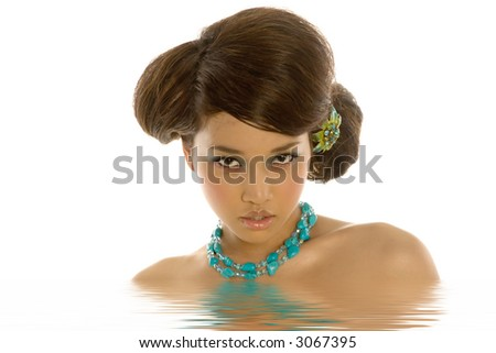 Sexy asian woman with necklace - stock photo