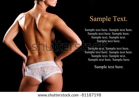 Sexy Backside of a Woman with Sweat Wearing White Lace Boy Shorts Lingerie with Text Space to the right - stock photo