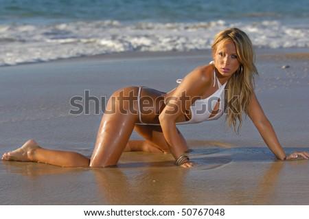Sexy beach bikini girl - stock photo