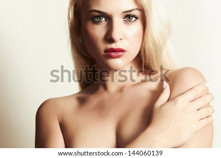 sexy beautiful blond woman with red lips - stock photo